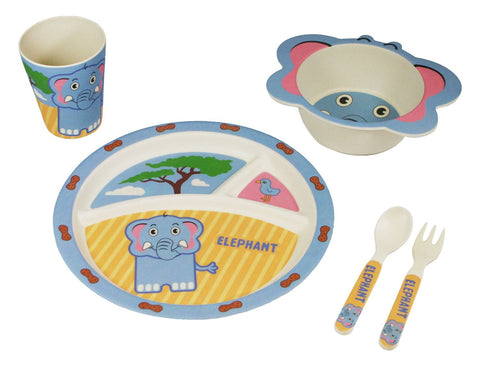 BAMBOO STUDIO KIDS DINNERWARE SET, EDDIE THE ELEPHANT, 5 PIECE