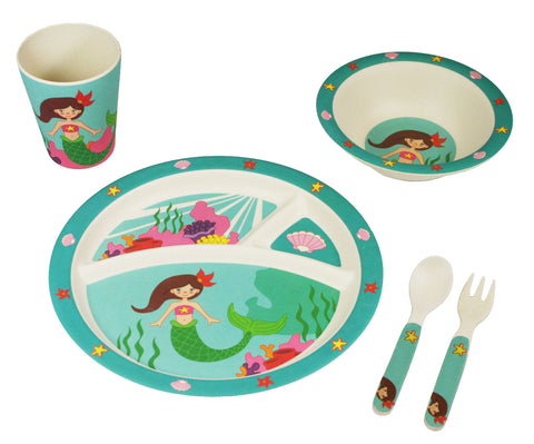 BAMBOO STUDIO KIDS DINNERWARE SET, MARINA THE MERMAID, 5 PIECE