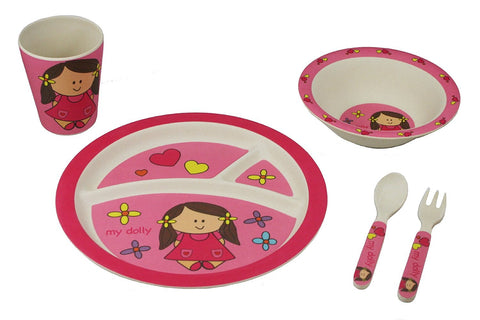 BAMBOO STUDIO KIDS DINNERWARE SET, MY DOLLY, 5 PIECE