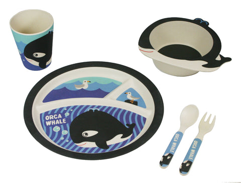BAMBOO STUDIO KIDS DINNERWARE SET, OTIS THE ORCA, 5 PIECE
