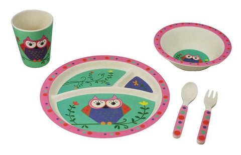 BAMBOO STUDIO KIDS DINNERWARE SET, OWL, 5 PIECE