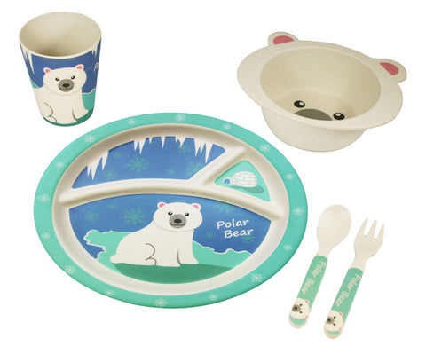 BAMBOO STUDIO KIDS DINNERWARE SET, PETTIE THE POLAR BEAR, 5 PIECE
