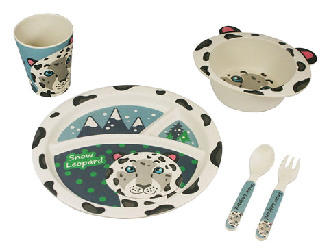 BAMBOO STUDIO KIDS DINNERWARE SET, SHEN THE SNOW LEOPARD, 5 PIECE