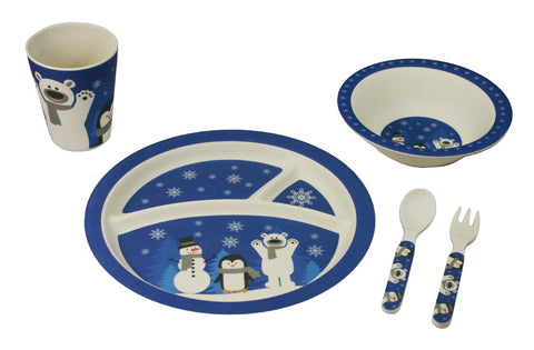 BAMBOO STUDIO KIDS DINNERWARE SET, SNOWMAN, 5 PIECE
