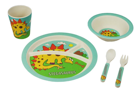 BAMBOO STUDIO KIDS DINNERWARE SET, STAGASAURUS, 5 PIECE