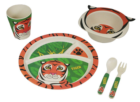 BAMBOO STUDIO KIDS DINNERWARE SET, TEGAN THETIGER, 5 PIECE