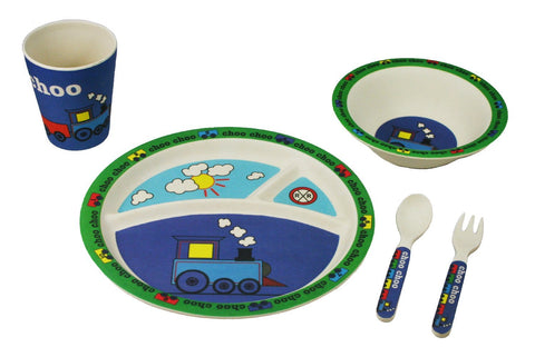 BAMBOO STUDIO KIDS DINNERWARE SET, TRAIN, 5 PIECE