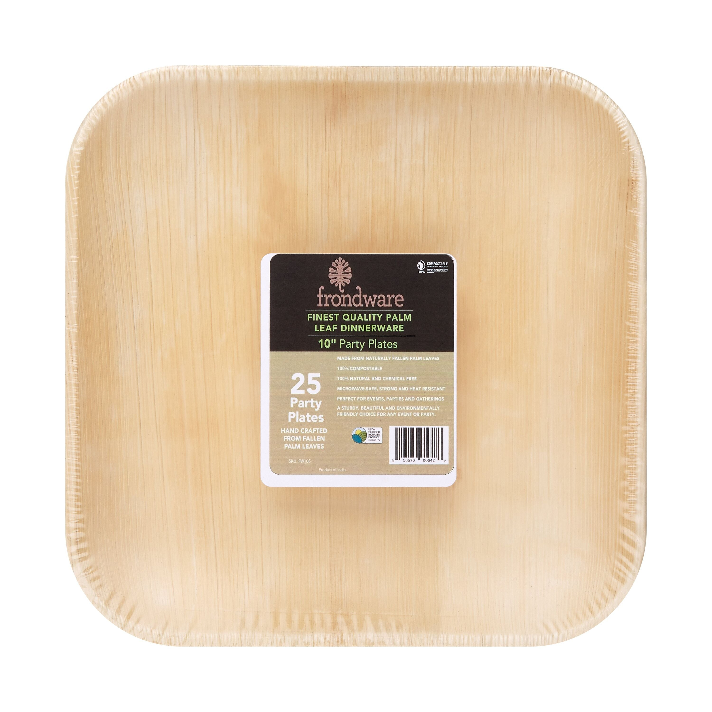Frondware 10\  Palm Leaf Square Disposable Party Dinner Plates Large Size Chemical Free ...  sc 1 st  Paperless Kitchen & Paper Plate Alternatives - Large Palm Tree Plates - Paperless ...