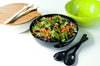 "Yumi Nature+ 12"" Black Salad Bowl w/ Bamboo Cover"