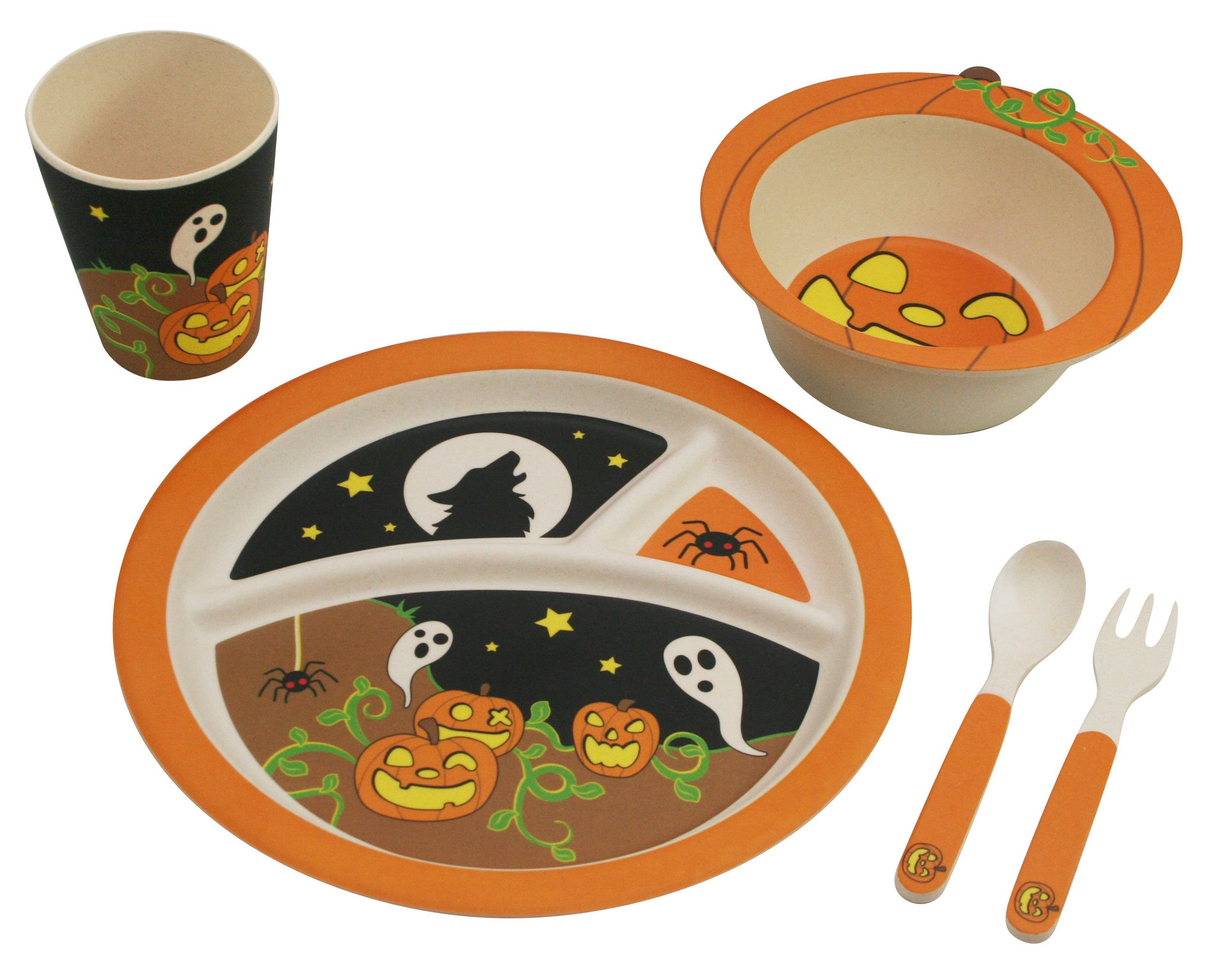 Bamboo Studio Babies/Kids/Toddlers Bamboo Dinnerware Set Halloween Pumpkin 5 Piece  sc 1 st  Paperless Kitchen & Halloween Pumpkin Dinnerware Set for Kids from Bamboo Studio 5 ...