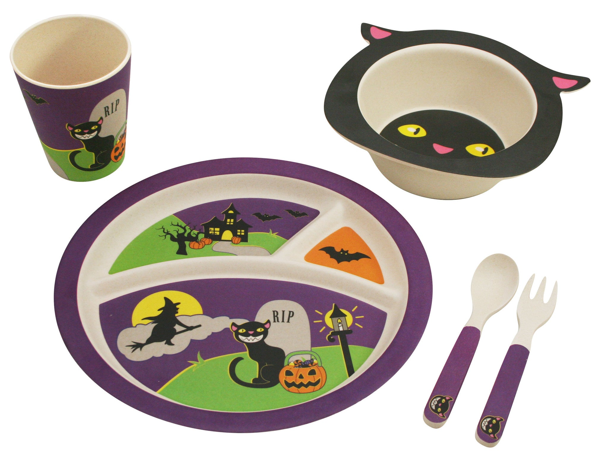 Bamboo Studio Babies/Kids/Toddlers Bamboo Dinnerware Set Halloween Cat 5 Piece  sc 1 st  Paperless Kitchen & Halloween Cat Dinnerware Set for Kids from Bamboo Studio 5 pieces ...