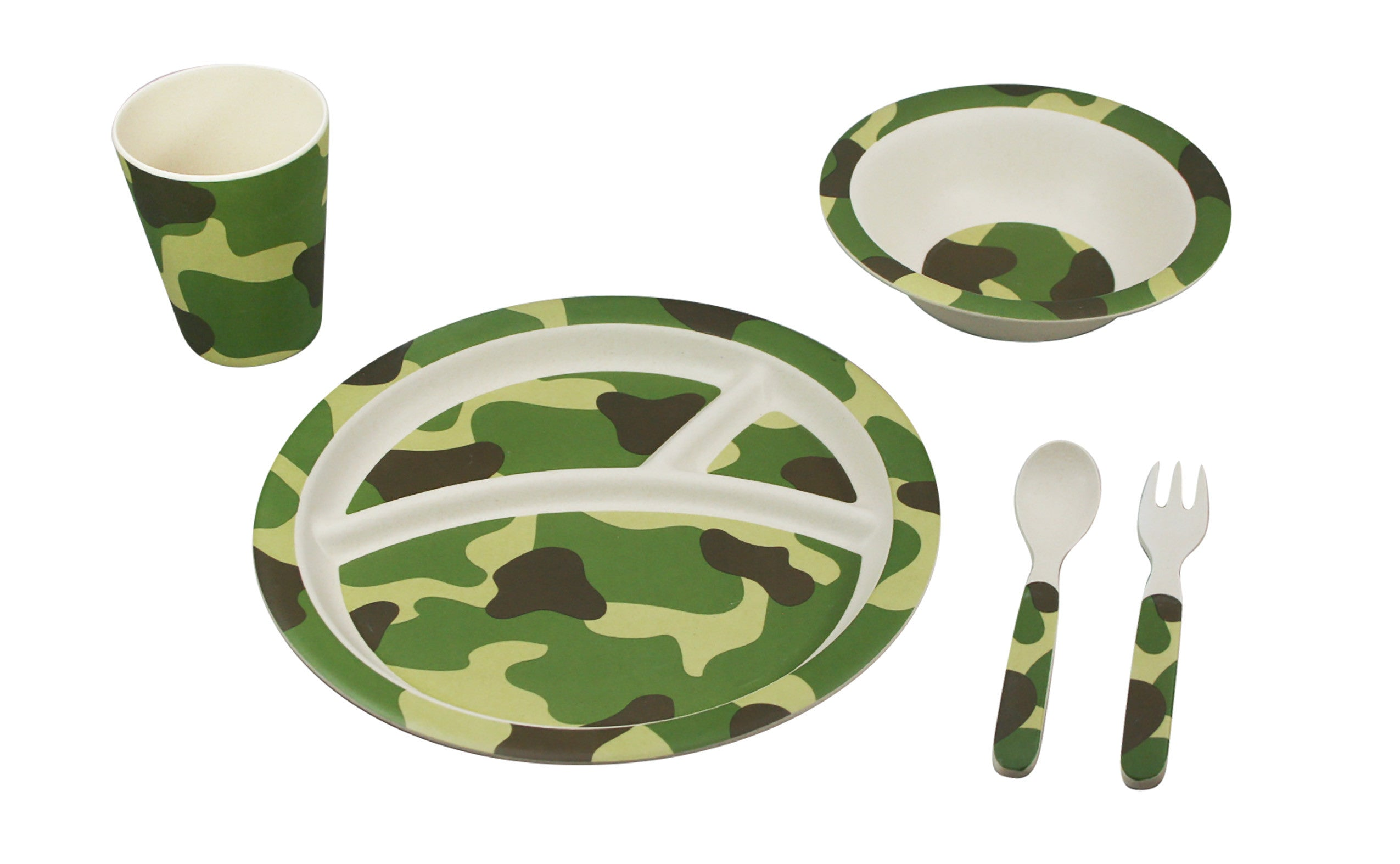 Ecobamboo Ware Babies/Kids/Toddlers Bamboo Dinnerware Set Camouflage Set of 5  sc 1 st  Paperless Kitchen & Camouflage Dinnerware Gift Set for Kids from Bamboo Studio 5 piece ...