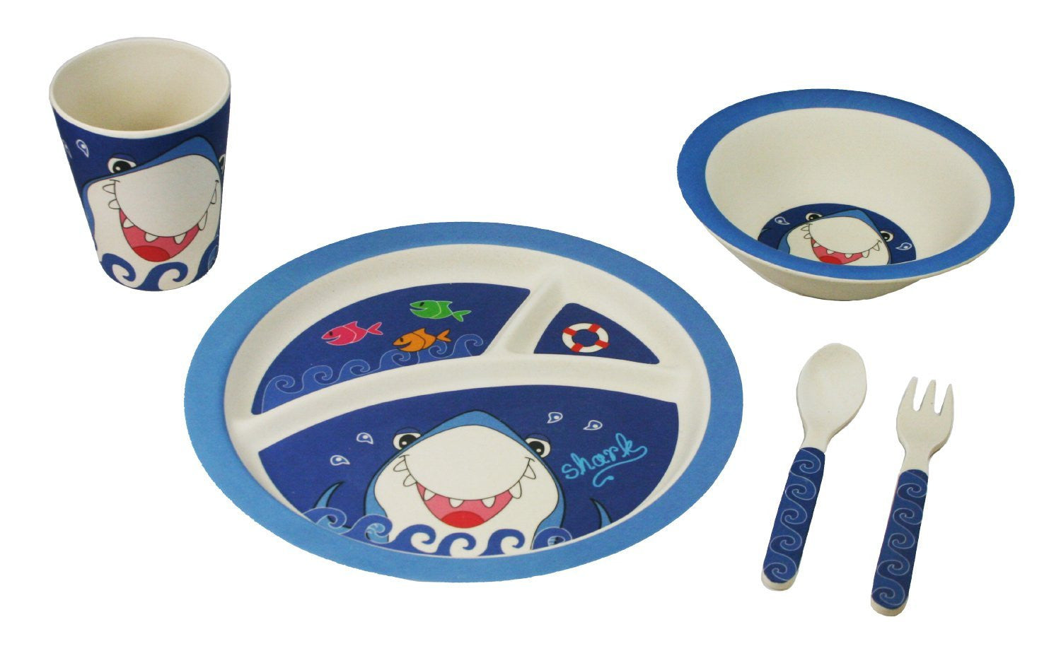 Bamboo Studio Babies/Kids/Toddlers Bamboo Dinnerware Set Shark Set of 5  sc 1 st  Paperless Kitchen & Shark Dinnerware Gift Set for Kids from Bamboo Studio 5 pieces ...