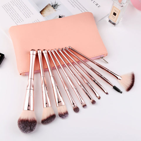 MB10 - Makeup Brush Set with Case 10Pcs Premium Synthetic Eye Shadow Foundation Blending Blush  Makeup Brushes Kit by Zoreya