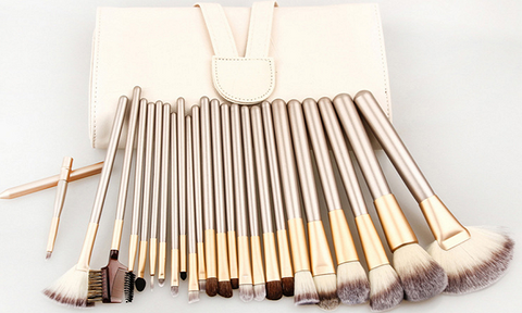 24 Piece Make Up Brush Set in Champagne Gold