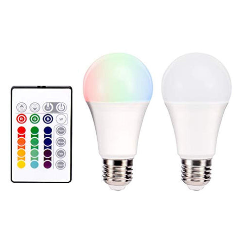JX-QP60B-5 - RGB LED Bulbs, Remote Control and Dimmable Light,50Hz/60Hz,  5W, E27, B22, 35000H Color Change Bulb , Ideal Lighting for Home, Office, Stage, Bar and Party, Soft White