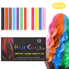 HC-12P - Hair Chalk, 12 Color Hair Chalk Pens Soft Pastels Salon Kit Fast Temporary Hair Dye Chalk Non-toxic Washable