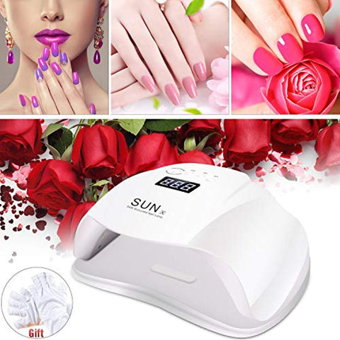JPC-153 - 54W Led Gel Nail Lamp,UV Light Dryer,Professional Nail Art Lamp Curing Nail Light US Charger,Led Nail Polish Dryer Curing Lamp Plus Gloves Gift for Gel Manicures