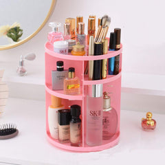 RMO - 360° Rotating Cosmetics Storage Rack Makeup Organizer Adjustable Makeup Organizer Shelf, Compact Size with Large Capacity, Fits Different Types of Cosmetics and Accessories (Pink)