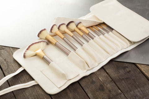 12 Piece Make Up Brush Set in Champagne Gold