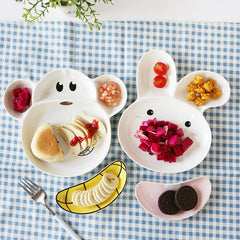 Creative Monkey Rabbit Porcelain Plate Bowl Sauce for Kids Ceramic Lunch Box Bento Food Container Dinnerware Set Crockery