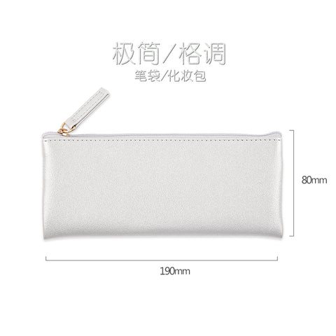 Kinbor Fashion Soft PU Pen Bag Travel Makeup Pouch Business Pencil Bag 8 Colors Cute Pencil Case School Office Supplies