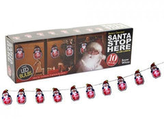 10 'Santa Stop Here' Sign w/ Santa LED