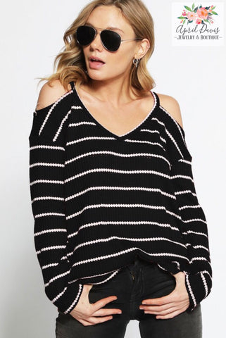 V-NECK STRIPE THERMAL COLD SHOULDER KNIT TOP