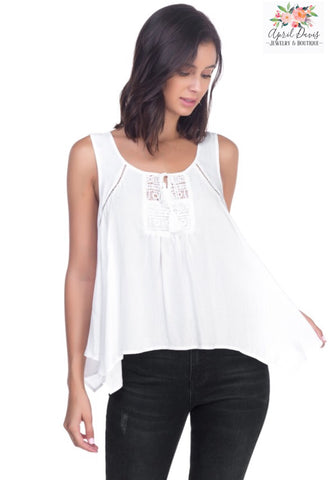 White Sleeveless Top With Tassel Tie