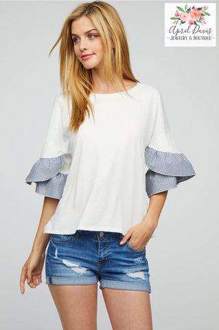 RUFFLE SLEEVE WHITE KNIT TOP