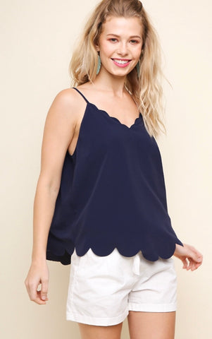 NAVY SCALLOPED SLEEVELESS TOP