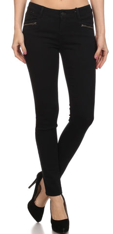 ZIPPER POCKET SKINNY FIT BLACK JEANS