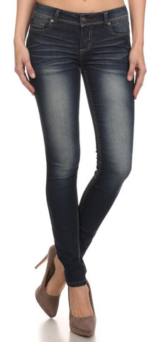 Dark Faded Stretch Skinny Jeans