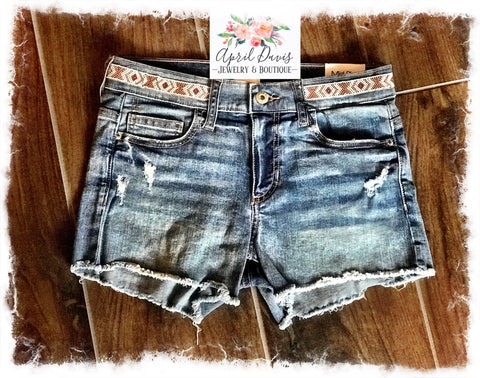 Beaded Belt Denim Shorts
