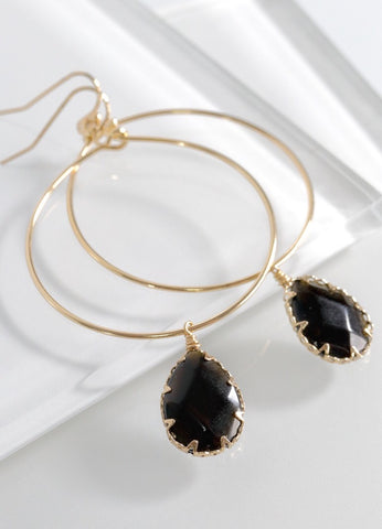 Natural Stone Gold Drop Earrings