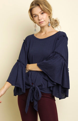 NAVY RUFFLE SLEEVE TIE TOP