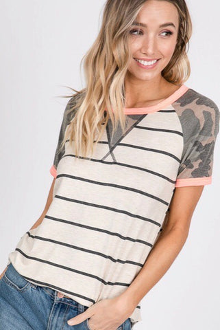 Camo Striped Top
