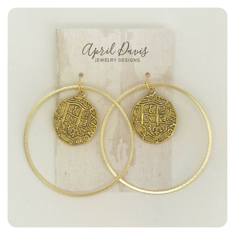 Large Gold w/ Coin Earring
