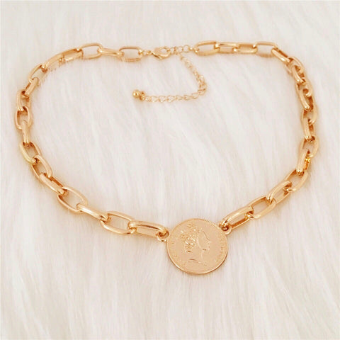 Coin Necklace Choker