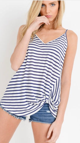 Navy and White Side Twist Tank
