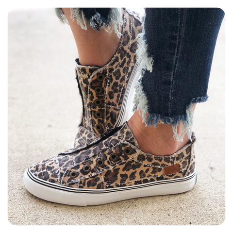 Frayed Leopard Print Sneakers