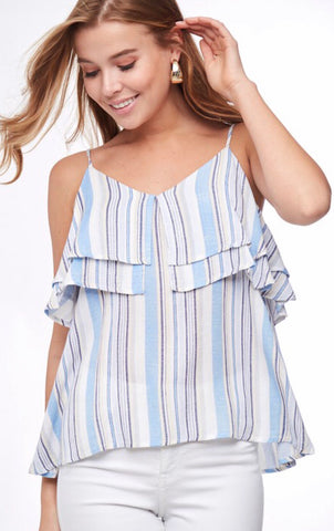 Striped Top w/ Ruffle Layers