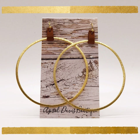 Large Gold Hoop Leather Earrings