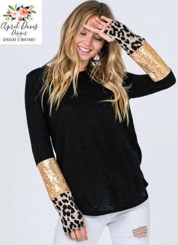 Black and Leopard Long Sleeve