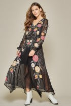 Load image into Gallery viewer, Midnight Blooms Embroidered Maxi Dress