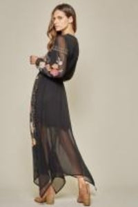 Midnight Blooms Embroidered Maxi Dress