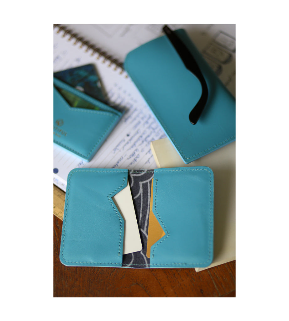 Takara Folded Double Card Holder - Azure & Silver Songs Grey