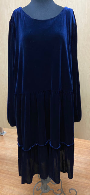 RO & DE ANTRHOPOLOGIE WINSOR NAVY VELVET TIER DRESS TUNIC 3X