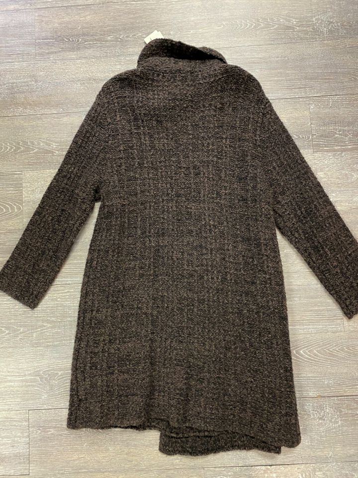 NWT EILEEN FISHER ECO PEBBLE PLAID LONG SWEATER JACKET SIZE LARGE
