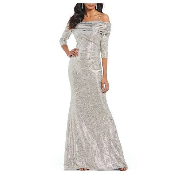 BETSEY & ADAM SILVER METALLIC OFF THE SHOULDER GOWN SIZE 4